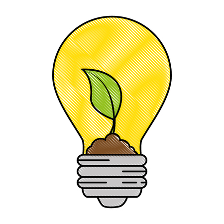 light bulb with leaves icon over white background vector illustration 向量圖像