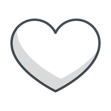 심장 및 흰색 배경 벡터 일러스트 레이 션을 통해 사랑