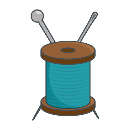 Needle and wool over white background vector illustration