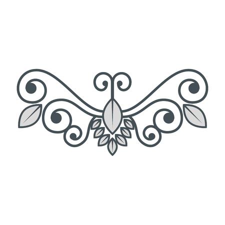 Wijnoogst, wervelingsdecoratie over witte vectorillustratie als achtergrond