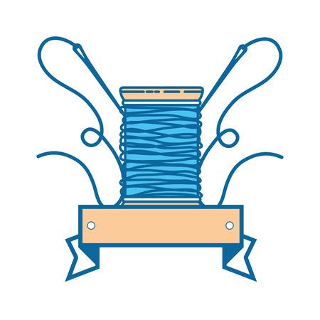 바늘과 양모 아이콘 벡터 일러스트 그래픽 디자인