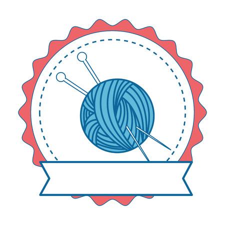 Naald en wol grafische illustratie van de pictogram het vectorillustratie Stock Illustratie