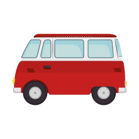 ヒッピー バス バン アイコン ベクトル イラスト グラフィック デザイン。