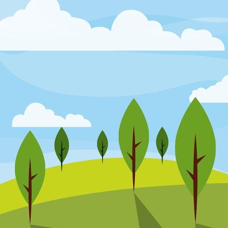 Koel ontspannend landschap pictogram vector illustratie grafisch ontwerp