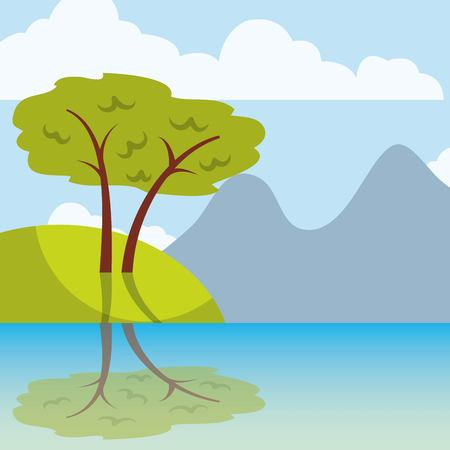 Cool relaxing landscape icon vector illustration design graphic