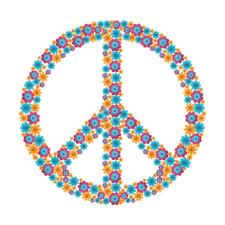 히피 평화 상징 아이콘 벡터 일러스트 그래픽 디자인