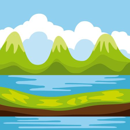 torrent: Cool relaxing landscape icon vector illustration design graphic