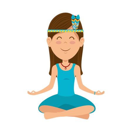 Hippie woman cartoon icon vector illustration graphic design Ilustracja