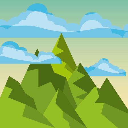 クールなリラックスできる風景アイコン ベクトル イラスト デザイン グラフィック