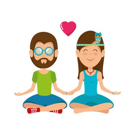 Hippie cute couple cartoon icon vector illustration graphic design Illustration
