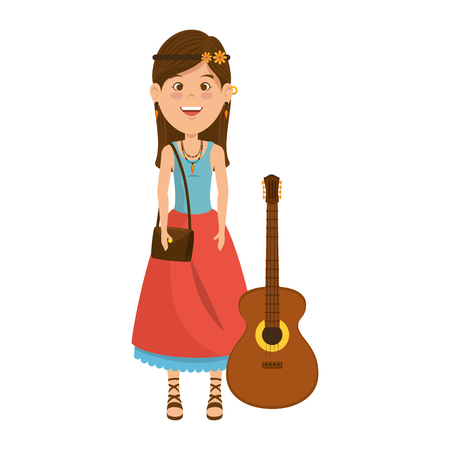 Hippie woman cartoon icon vector illustration graphic design Illusztráció