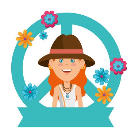 Hippie woman cartoon icon vector illustration graphic design 向量圖像