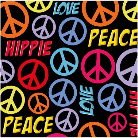 ヒッピーの平和シンボル背景アイコン ベクトル イラスト グラフィック デザイン