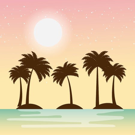 Warm relaxing landscape icon vector illustration design graphic Illustration