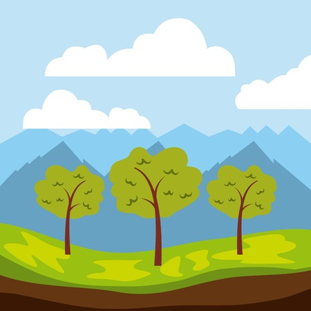 Cool relaxing landscape icon vector illustration design graphic.