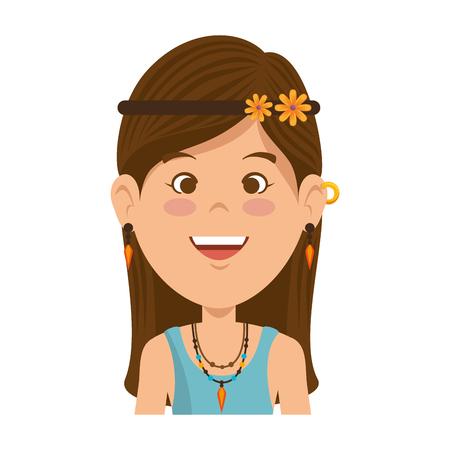Hippie woman cartoon icon vector illustration graphic design.