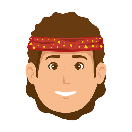 Hippie man cartoon icon vector illustration graphic design. Illusztráció