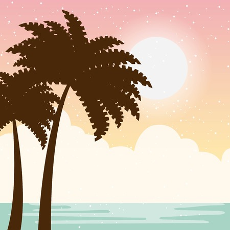 Warm relaxing landscape icon vector illustration design graphic.