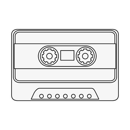 Cassette icon over white background vector illustration.