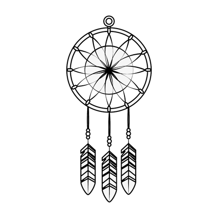 A dream catcher icon over white background vector illustration.