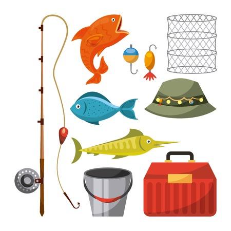 Gráfico necessário do projeto da ilustração do vetor do ícone dos objetos da pesca. Foto de archivo - 83817829
