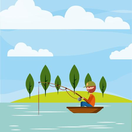 남자 낚시 그것을 즐길 아이콘 벡터 일러스트 레이 션 디자인 그래픽.