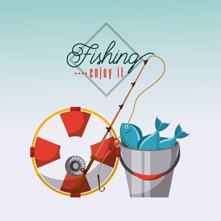Necessary fishing objects icon vector illustration design graphic. Illustration