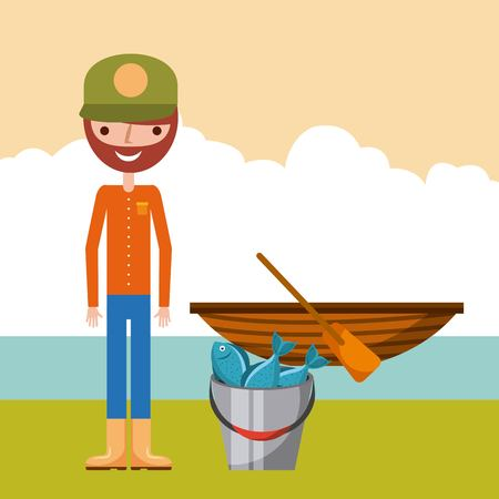 Man fishing enjoy it icon vector illustration design graphic.