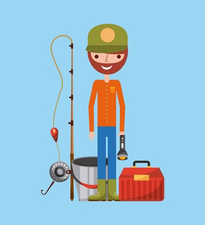 Necessary fishing objects icon vector illustration design graphic. Illustration