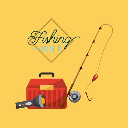 Gráfico necessário do projeto da ilustração do vetor do ícone dos objetos da pesca. Foto de archivo - 83817881