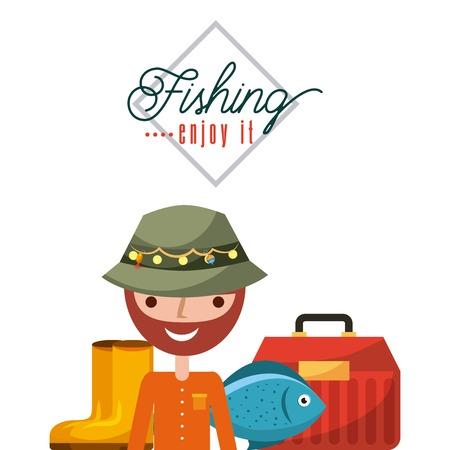 Gráfico necessário do projeto da ilustração do vetor do ícone dos objetos da pesca. Foto de archivo - 83817889