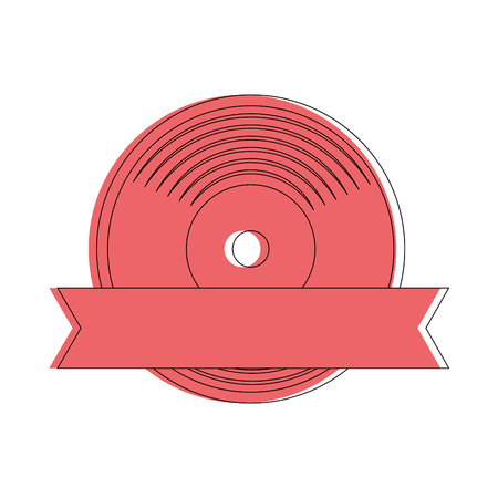 vinyl with decorative ribbon icon over white background vector illustration