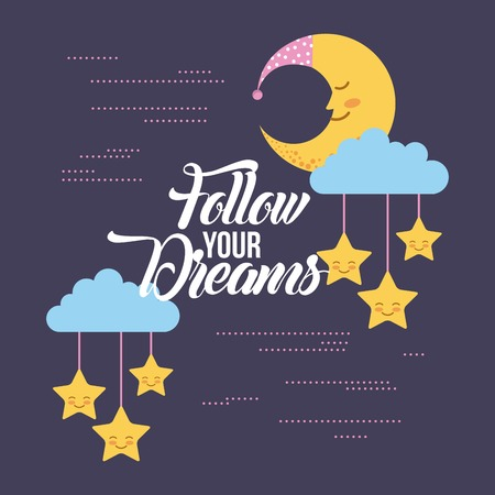 follow your dreams background icon vector illustration design graphic