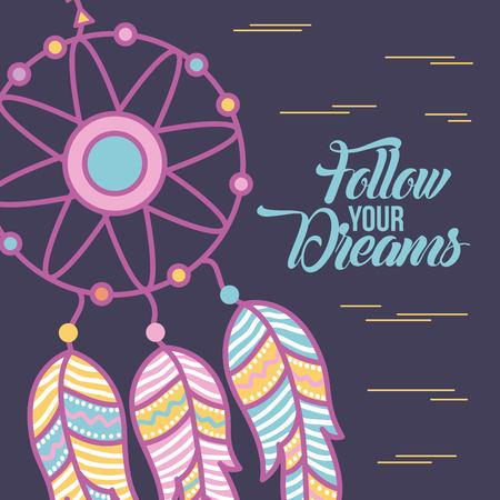 Follow your dreams background icon vector illustration design graphic Illustration