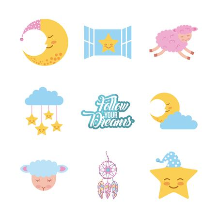 Follow your dreams background icon vector illustration design graphic Illusztráció