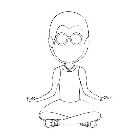 히피 남자 만화 아이콘 벡터 일러스트 그래픽 디자인 일러스트