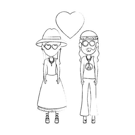 Hippie cute couple cartoon icon vector illustration graphic design Ilustrace