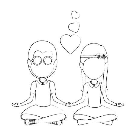 Hippie cute pareja de iconos de dibujos animados ilustración vectorial diseño gráfico Foto de archivo - 83821430