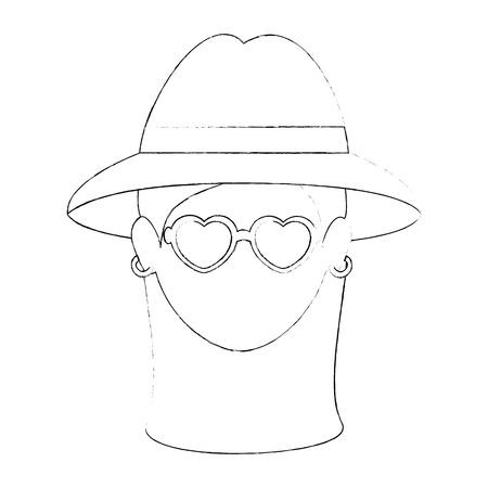 Hippie woman cartoon icon vector illustration graphic design Ilustração