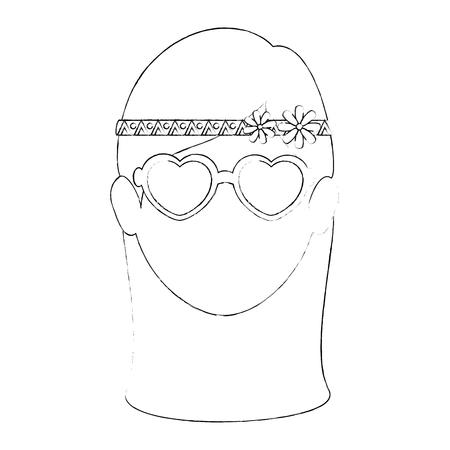 ヒッピー女性漫画アイコン ベクトル イラスト グラフィック デザイン  イラスト・ベクター素材