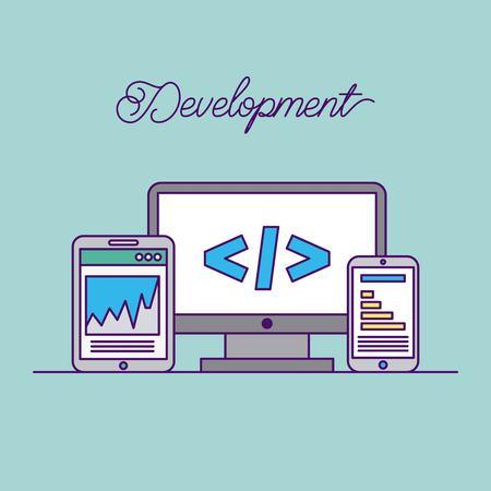 개발 컴퓨터 코드 아이콘 벡터 일러스트 디자인 그래픽 일러스트