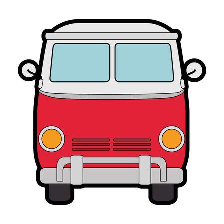 히피 버스 반 아이콘 벡터 일러스트 그래픽 디자인 일러스트