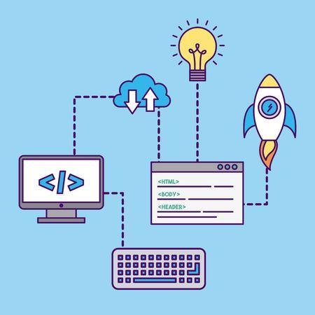 Development computer codes icon vector illustration design graphic
