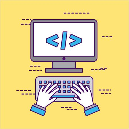 Development computer codes icon vector illustration design graphic