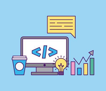 開発コンピューター コード アイコン ベクトル イラスト デザイン グラフィック