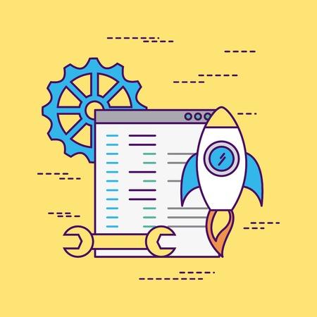 Develop computer codes icon vector illustration design graphic