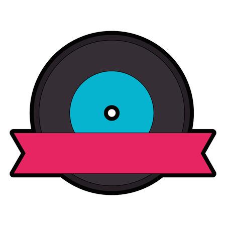 Vector de illustratie grafisch ontwerp van het muziekvinyl geïsoleerd pictogram Stock Illustratie