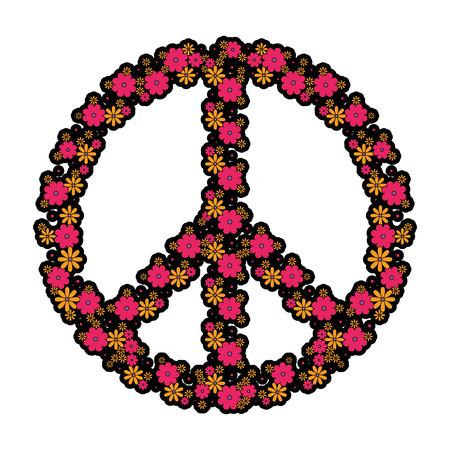 Hippie peace symbol icon vector illustration graphic design