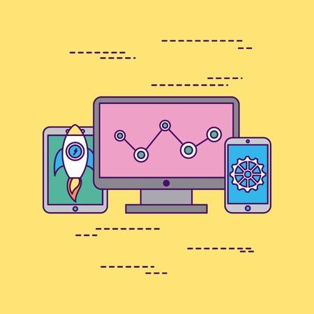 Develop computer codes backgrpound icon vector illustration design graphic