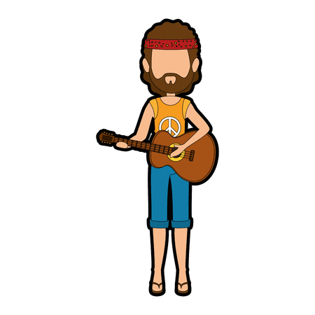 Hippie man cartoon icon vector illustration graphic design